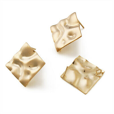10pcs Brass Rhombus Earring Posts Wavy Bumpy Stud Findings Loop Gold Plated 25mm