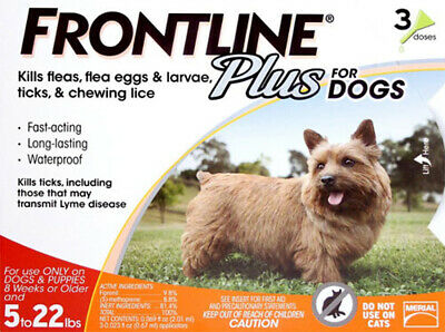 Frontline Plus for Dogs Puppy Flea Tick Control Spot On 3 Doses 5-22 Pounds