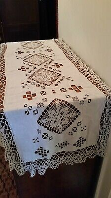 Antique french table runner excellent condition 1920s cotton
