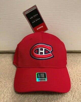 15a8c7fe645 Montreal Canadiens Reebok Flex Fit Fitted Hat L xl Nhl Face Off Vintage Cap  Nwt