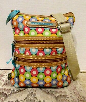 Lily Bloom Eco Friendly Multi-Colored Circles 3 Section Adjust Strap Crossbody