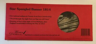 Star Spangled Banner 1814 Replica On Hand Antiqued Parchment Paper