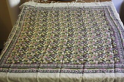 Vintage Wool style shawl gypsy indian spanish russian scarf white floral S475