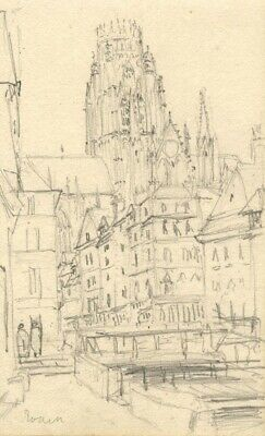 Side View of Rouen Cathedral, France - Original 1879 graphite drawing