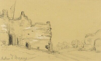Château d'Arques-la-Bataille Ruins, Normandy - Original 1879 graphite drawing