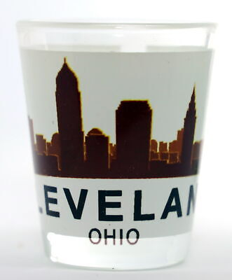 Cleveland Ohio Sunset Skyline Shot Glass Shotglass