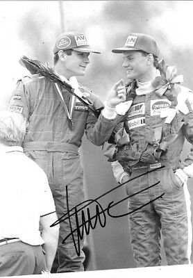 Gil De Ferran SIGNED  British F3 Podium Portrait with David Coulthard 1991