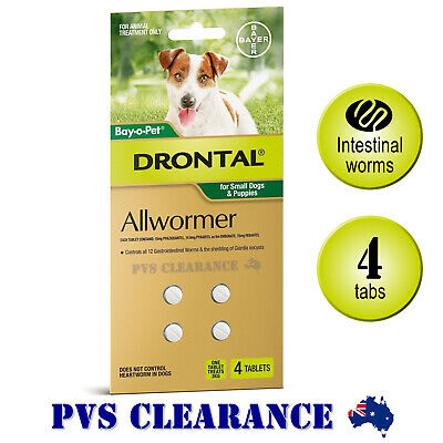 Drontal Allwormer for Small Dogs Up To 3kg - 4 Tablets - Puppy Worms Tapeworm