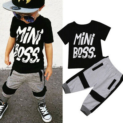 AU Toddler Kids Boys Cool T-shirt Tops Pants Casual Outfits Set Clothes 1-6Y