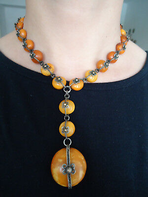 19-th CENTURY! ANTIQUE GENUINE EGG YOLK BALTIC AMBER NECKLACE, SILVER CHAIN