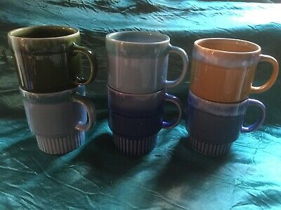 Vintage/Retro Drip Glazed Stackable Coffee Mugs x 6