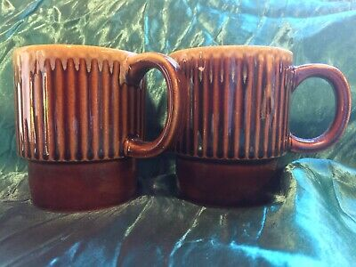 Vintage/Retro Drip Glazed Stackable Coffee Mugs x 2 - Made In Japan