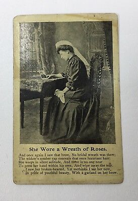 She Wore A Wreath Of Roses Poem 1908 Postcard
