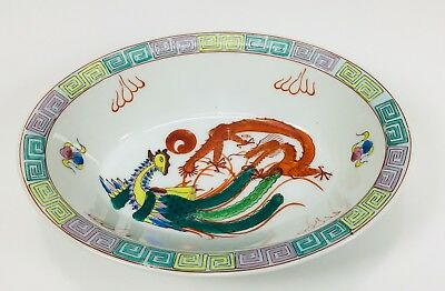 CINA (China): Old Chinese porcelain dragon & phoenix Oval bowl 8 1/4 X 6 1/4