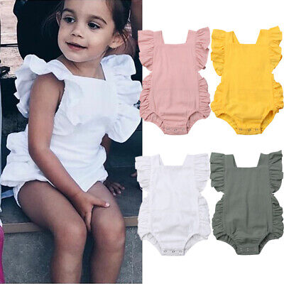 AU Summer Newborn Baby Girl Ruffle Solid Romper Bodysuit Jumpsuit Outfit Clothes