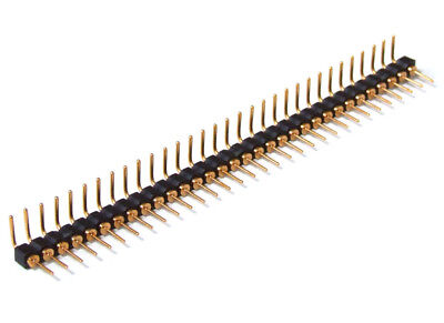 32-pin Single Row round Male Header Right Angled / Pen Strip Angled Gold