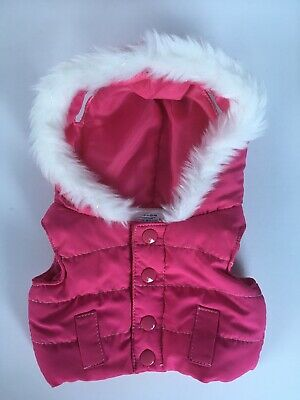 * GENUINE BUILD A BEAR VEST Pink Puffa White Fur Edge Hood Hoodie - VERY GOOD