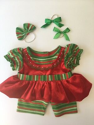 * GENUINE BUILD A BEAR CHRISTMAS OUTFIT Festive Red Green BOWS - VERY GOOD