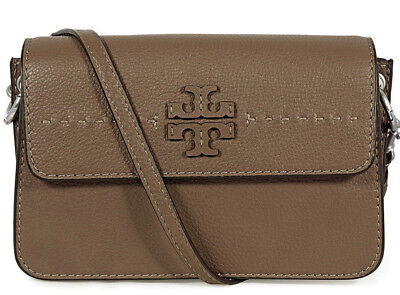 14c0145ae258 NWT TORY BURCH McGraw Cross-Body 40410 SILVER MAPLE Leather Shoulder Bag   358