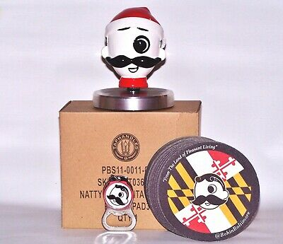 NEW NATTY BOH SANTA CLAUS INTERCHANGEABLE TAP HANDLE TOPPER w/COASTERS & OPENER!