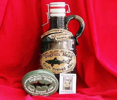 NEW DOGFISH HEAD LIMITED EDITION 1/2 GALLON GREEN CERAMIC GROWLER w/COASTERS!