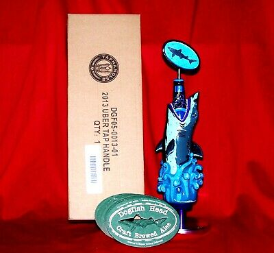 BRAND NEW IN BOX BEAUTIFUL DOGFISH HEAD 2013 TAP HANDLE SHARK w/COASTERS & STAND
