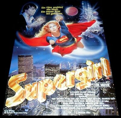Supergirl ORIGINAL German A1 POSTER Helen Slater SEXY 84' Art by Casaro over NYC
