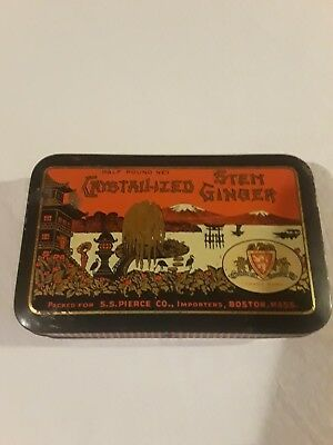 Vintage S.S. Pierce BOSTON Crystallized Stem Ginger TIN Large 1/2 POUND Fuji SEA