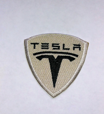 Tesla  IRON ON EMBROIDERed PATCHES    Size Is 2.50 INCHes PATCH ELECTRICal Large