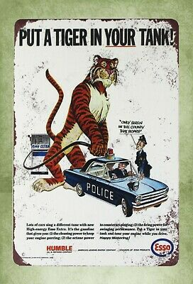 US SELLER- Esso gas put a tiger in your tank tin metal garage signs