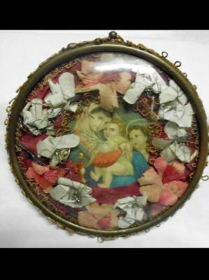 hübsche antike Klosterarbeit-Madonna-lovely antique religious image-domed glass