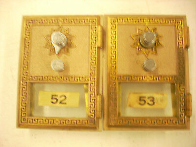 2 -Vintage 1966 Post Office box doors and frame # 52 & 53, Made by National Lock