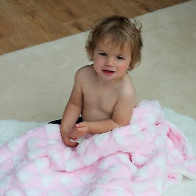 Super Soft Pink Heart Baby Girl Blanket | FREE Delivery