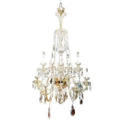 A monumental large Italian crystal antique chandelier