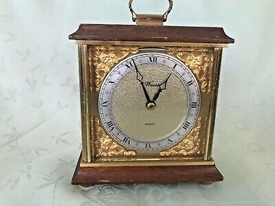 Heavy Vintage Brass & Wood Quartz Clock - Weiss clocks Ltd Reading
