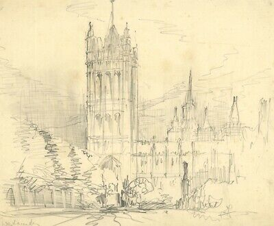 Patrick Faulkner, Parliament and Westminster - Mid-20th-century graphite drawing