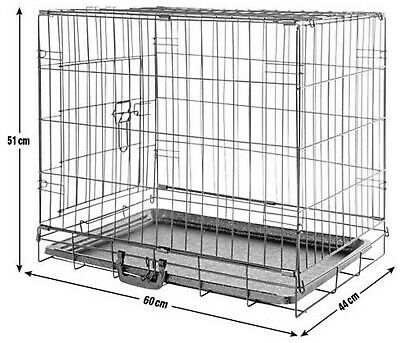 Used Small Cat/Dog Folding Cage With Handle & Washable Tray-60Cm X 44Cm X 51Cm