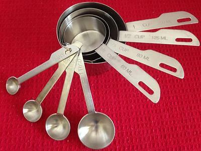 8 piece Set Stainless Steel Measuring Cups & Spoons