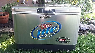 COLEMAN Miller Lite Stainless Steel Beer Cooler 22x14x16 Party Advertising