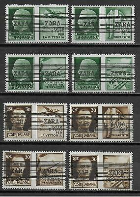 German Occupation ZARA stamps 1943 MI 35-36I-IV signed LudinBPP MNH VF