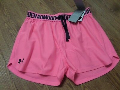bnwt-girls under armour heatgear shorts-ylg-loose -pink