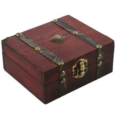 Wooden Vintage Lock Treasure Chest Jewelery Storage Box Case Organiser Ring A4C7