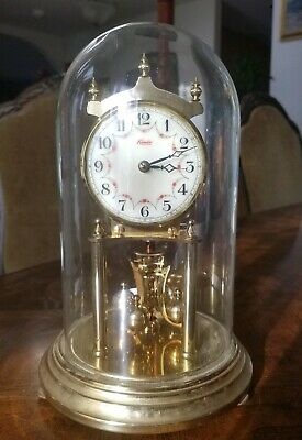 KUNDO Vintage Anniversary glass dome mantle clock. Made in Germany. 10""