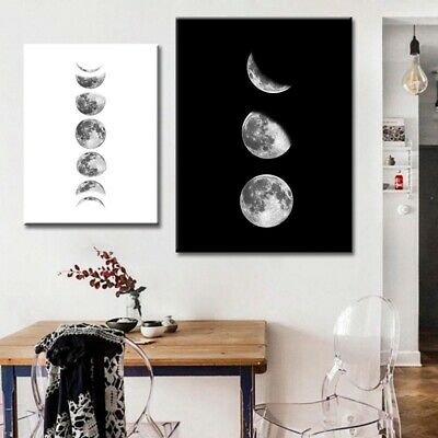 New Moon-phases Canvas Painting Abstract Wall Art Poster Office Home Decor