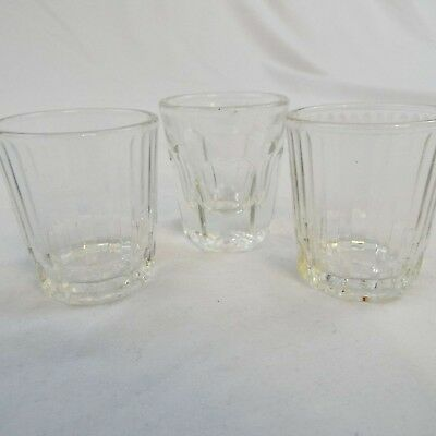 Lot of 3 Anchor Hocking Shot Glasses 2 Ribbed, 1 Rock Glass Style