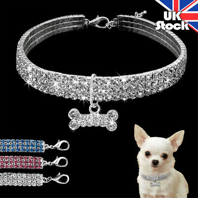 Rhinestone Dog Collar and Leads Bow for Doggie Puppy Cat Small Pet Accessory UK