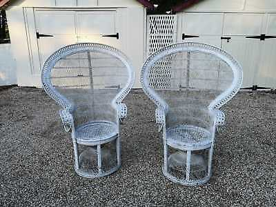 Pair Of Iconic Emmanuelle Vintage Wicker Peacock Chairs in White
