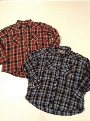 9c85a751 LOT of 2 - Mens Plaid Wrancher By Wrangler Flannel Shirts Pearl Snaps Sz 2XL