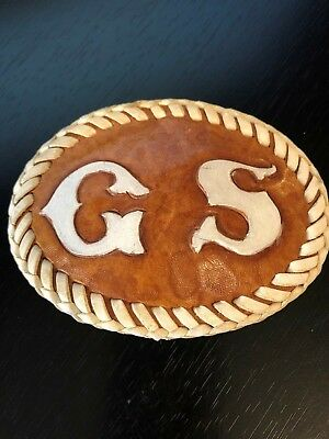Initials C S or GS  All Leather Front and Back Belt Buckle