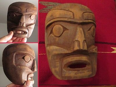 Old Northwest Coast Mask  red cedar carving